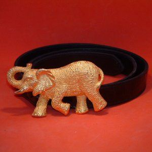 Accessories - Black Belt With Gold Tone Elephants Buckle (L)